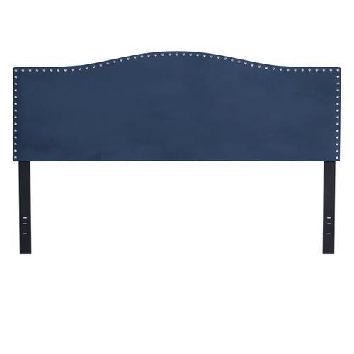 Kiley Upholstered King Headboard, Blue Velvet