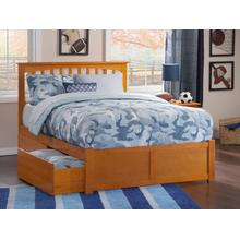 Mission King Flat Panel Foot Board with 2 Urban Bed Drawers Caramel Latte
