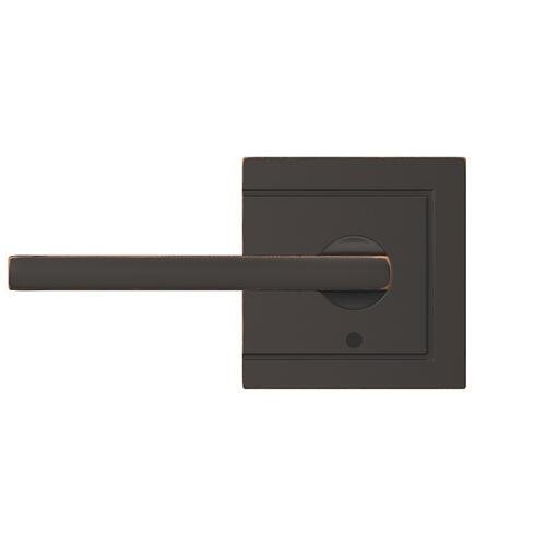 Custom Latitude Lever with Upland Trim Hall-Closet and Bed-Bath Lock - Aged Bronze