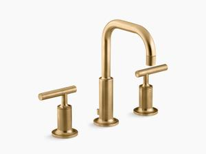 Vibrant Moderne Brushed Gold Widespread Bathroom Sink Faucet With Low Lever Handles and Low Gooseneck Spout Product Image