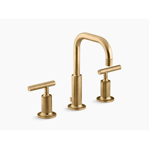 Vibrant Moderne Brushed Gold Widespread Bathroom Sink Faucet With Low Lever Handles and Low Gooseneck Spout