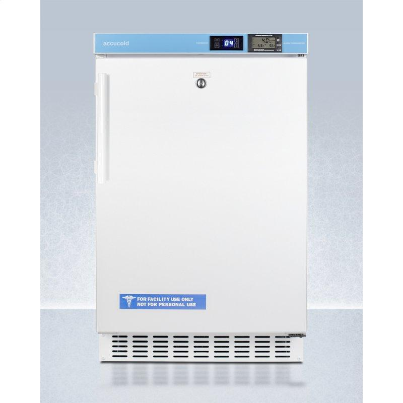 """Pharmacy Series ADA Compliant 20"""" Wide Built-in Undercounter All-refrigerator for Vaccine Storage, Frost-free With an Internal Fan, External Digital Controls and Nist Calibrated Thermometer, and Lock"""