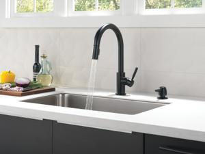 Matte Black Single Handle Pull-Down Kitchen Faucet with Soap Dispenser Product Image