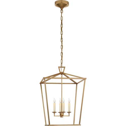 - E. F. Chapman Darlana 4 Light 17 inch Antique-Burnished Brass Foyer Lantern Ceiling Light, Medium