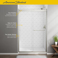 See Details - Top-Roller Semi-Frameless Sliding Shower Door - 56 to 60 inches  American Standard - Brushed Nickel