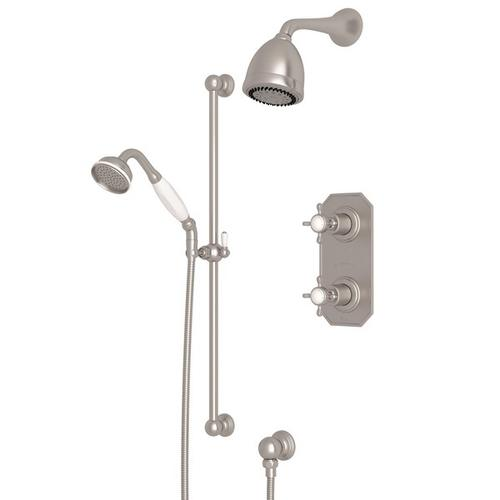 Satin Nickel Perrin & Rowe Edwardian Thermostatic Shower Package with Edwardian Cross Handle