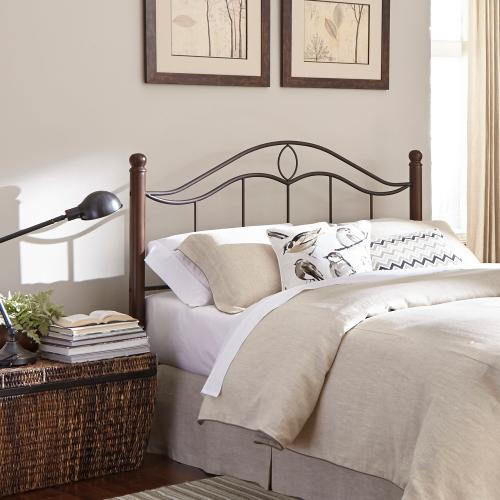 Cassidy Metal Headboard Panel with Sloping Horizontal Rails and Dark Walnut Wood Color Finial Posts, Mink Finish, Queen
