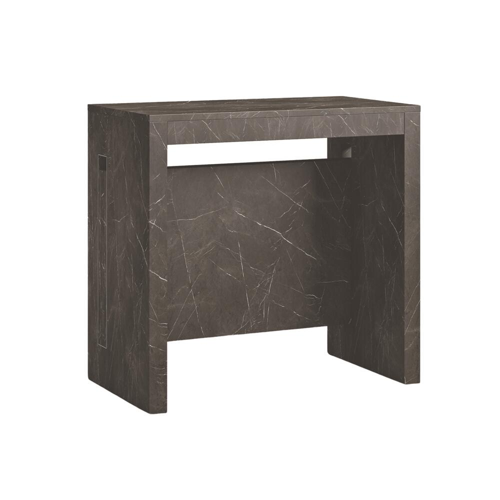 The Erika Extendable Console Table In Black Marbled Grain Melamine