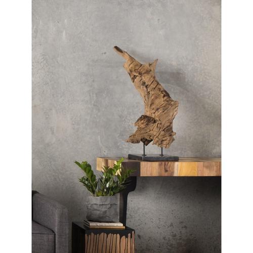 Natural Teak Wood Sculpture On Black Marble Stand Medium