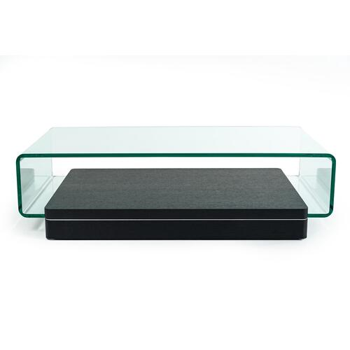 VIG Furniture - Modrest Vitro Modern Glass and Oak Coffee Table