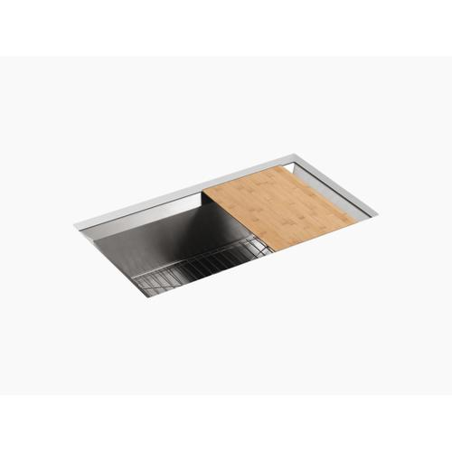 """33"""" X 18"""" X 9-3/4"""" Undermount Single-bowl Kitchen Sink With Cutting Board and Rack"""