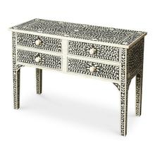 Artistic craftsmanship in a soft botanical pattern, this Console Table features consummate craftsmanship in a study of black and white. The handcrafted inlay stem to stern are created from white bone cut and individually applied in a centuries old traditional manner. No two tables are ever exactly alike, with thousands of intricate pieces hand-laid to complete this delightful masterpiece.