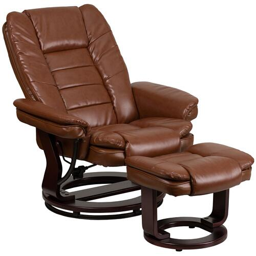 Contemporary Brown Vintage Leather Recliner and Ottoman with Swiveling Mahogany Wood Base