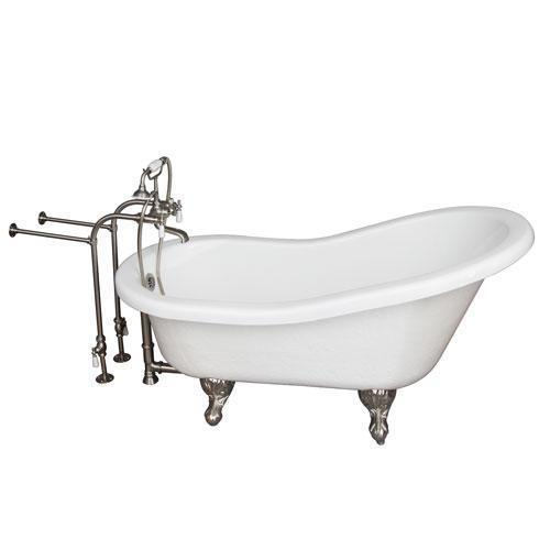 """Estelle 60"""" Acrylic Slipper Tub Kit in White - Brushed Nickel Accessories"""