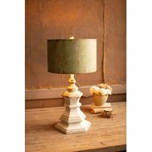 See Details - antique white wood table lamp with antique green metal shade
