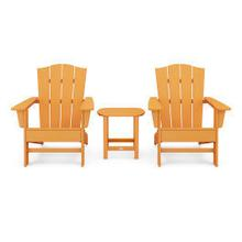 View Product - Wave 3-Piece Adirondack Chair Set with The Crest Chairs in Tangerine