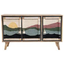 """See Details - 55""""W x 16""""D x 31""""H Mango Wood Console w/ 3 Doors & Woven Rope Scene"""