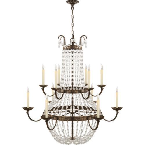 Visual Comfort - E F Chapman Paris Flea Market 12 Light 40 inch Sheffield Silver Chandelier Ceiling Light