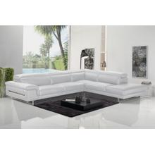 View Product - Accenti Italia Westport - Italian Modern White Leather Right Facing Sectional Sofa