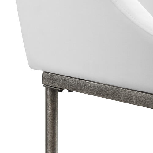 Dillon Metal Counter Height Stool, Textured Silver With White Fabric