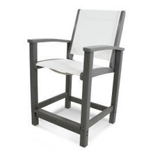 View Product - Coastal Counter Chair in Slate Grey / White Sling