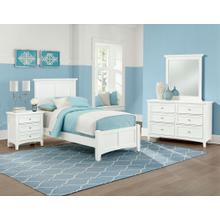 Twin White 4 PC Bedroom Set - Panel Bed