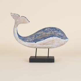 Wooden Mosaic Whale On Stand