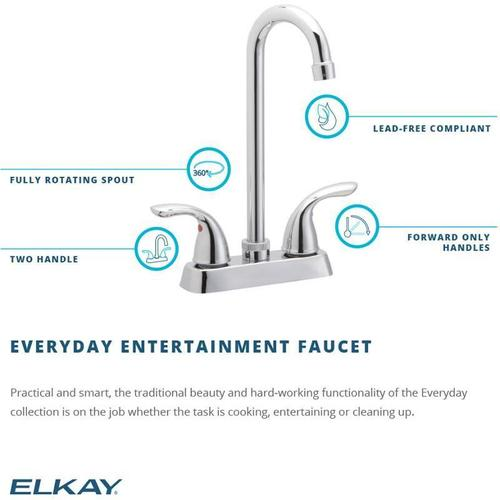 Elkay Everyday Bar Deck Mount Faucet and Lever Handles Chrome