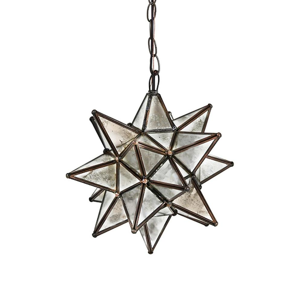Whether You Install One or Group Several Together, Our Small, Moravian Star Chandelier With Antique Mirrors Brings Beautiful Sparkle To Your Decor Throughout the Day and Night. Each Star Comes Standard With 3' of Antique Brass Chain and Canopy, Additional Chain Length Available for Purchase To Accommodate Your Custom Installation.