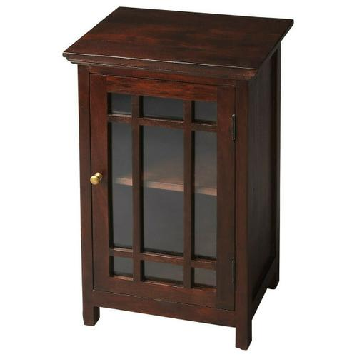 Packing fashion as well as function, this stylish Chairside Table features a nine-panel glass door; a hand-painted, dark brown finish, a gleaming brass-finished door pull that opens to a convenient storage space with a shelf.