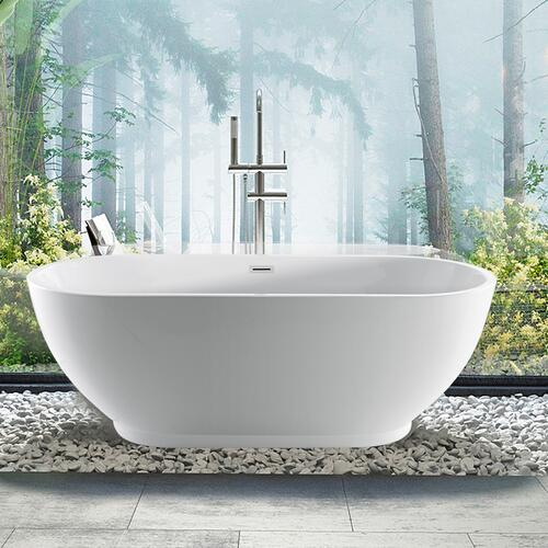 """Radcliff 67"""" Acrylic Tub with Integral Drain and Overflow - Polished Brass Drain and Overflow"""
