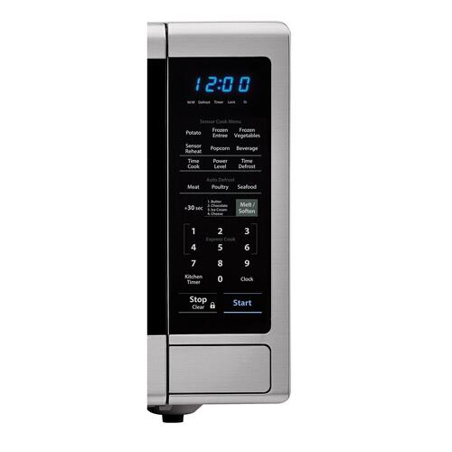 1.8 cu. ft. 1100W Sharp Stainless Steel Countertop Microwave Oven with Black Mirror Door