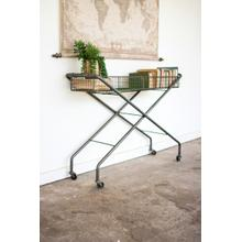 See Details - rolling metal basket console