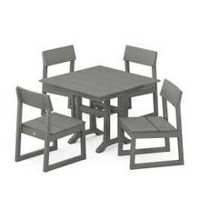 View Product - EDGE 5-Piece Farmhouse Trestle Side Chair Dining Set in Slate Grey