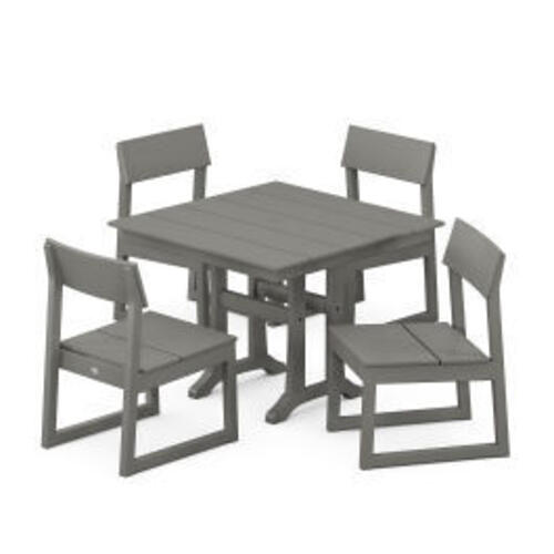 Polywood Furnishings - EDGE 5-Piece Farmhouse Trestle Side Chair Dining Set in Slate Grey