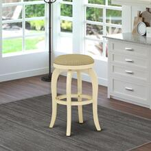 "Bedford Swivel Backless Barstool 30"" Seat Height With Linen White Leg And Pu Leather Sandalwood Color"