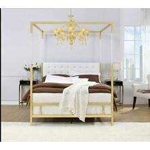 ACME Raegan Queen Bed (Canopy), White PU & Gold (1Set/2Ctn) - 22680Q
