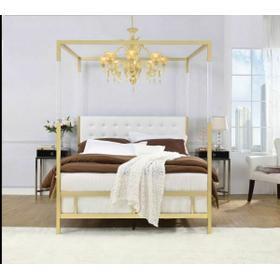 ACME Raegan Queen Bed (Canopy), White PU & Gold (1Set/2Ctn) - 22680Q