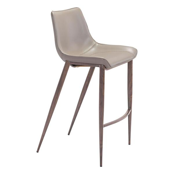See Details - Magnus Bar Chair Gray & Walnut