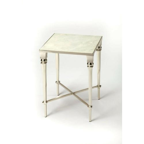Brushed and polished silver finishes alternate on this fifties-inspired end table. The subtle veins of the white marble add richness and the simplicity makes for an elegant finishing touch. Even more beautiful in pairs.