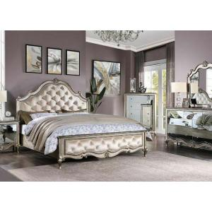 ACME Esteban Eastern King Bed - 22197EK - Glam - Velvet, Wood (Poplar), Poly-Resin, MDF, PB - Velvet and Antique Champagne