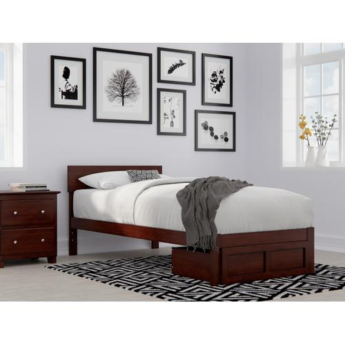 Atlantic Furniture - Boston Twin Extra Long Bed with Foot Drawer in Walnut