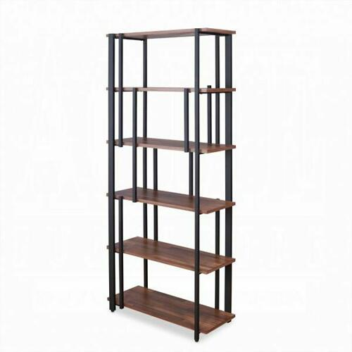 ACME Sara Bookshelf - 92406 - Walnut & Sandy Black