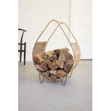 See Details - woven rush and metal firewood rack with tall handle