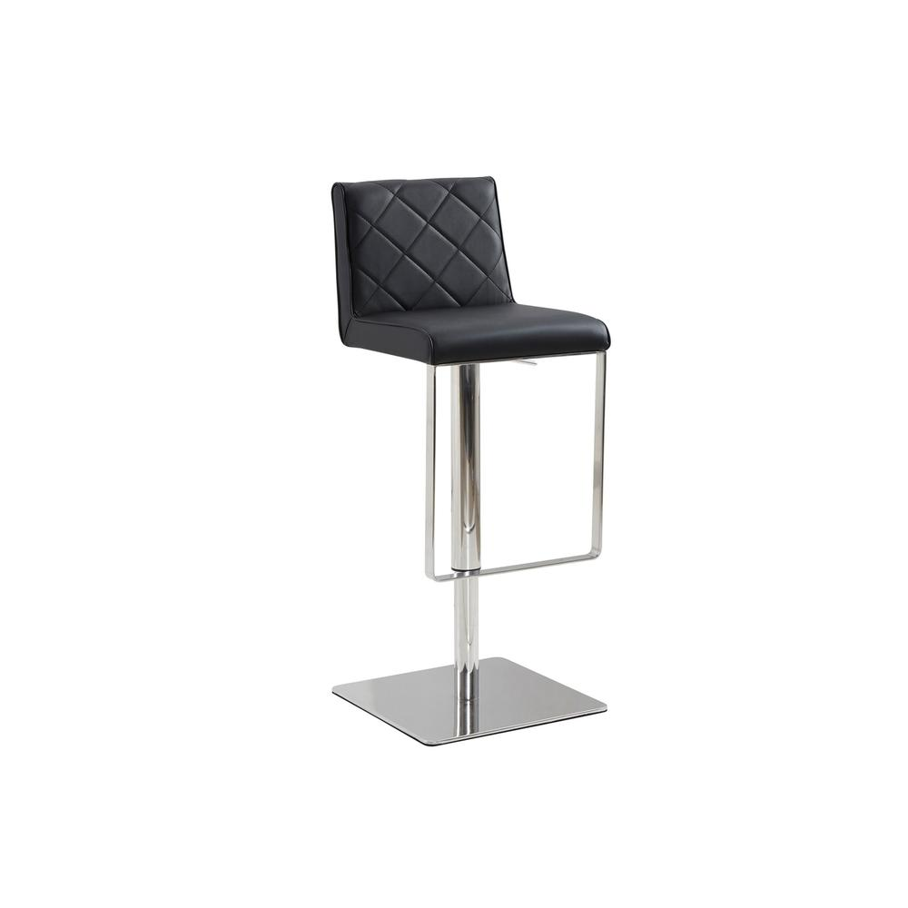 The Loft Adjustable Bar Stool In Black Leatherette With Stainless Steel Base