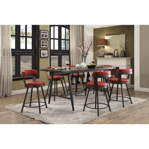 Swivel Counter Height Chair, Red