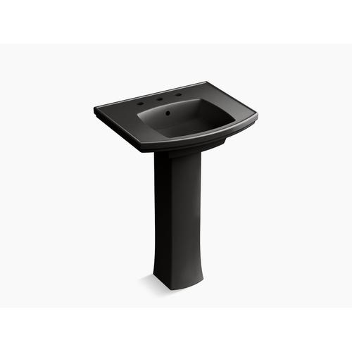 "Black Black Pedestal Bathroom Sink With 8"" Centerset Faucet Holes"