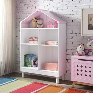 ACME Doll Cottage Bookcase - 92223 - White & Pink