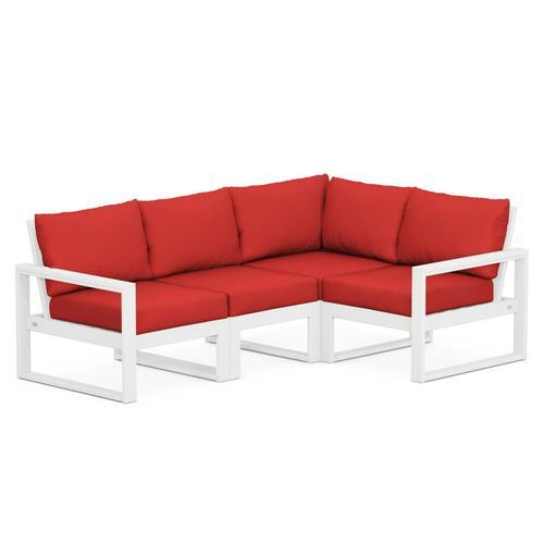 Polywood Furnishings - EDGE 4-Piece Modular Deep Seating Set in White / Crimson Linen