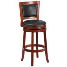 30'' High Dark Cherry Wood Barstool with Walnut Leather Swivel Seat